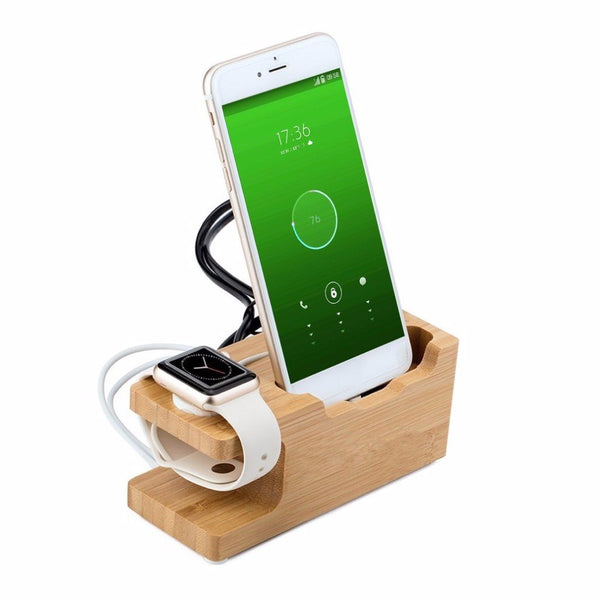 Bamboo Wood 3-port USB Charging Dock Station Holder for iPhone for iWatch Universal Desktop Charging Cradle Bracket Stand - firstcellphoneadvantage.com