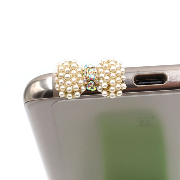 Small Pearl With Diamond Bow Dust Plug