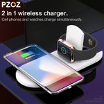 PZOZ 2 in 1 Wireless charger USB Fast Charging Phone Adapter for apple watch 3 iwatch 1 2 iphone X 8 Plus Samsung S9 S8 note 7 8 - firstcellphoneadvantage.com