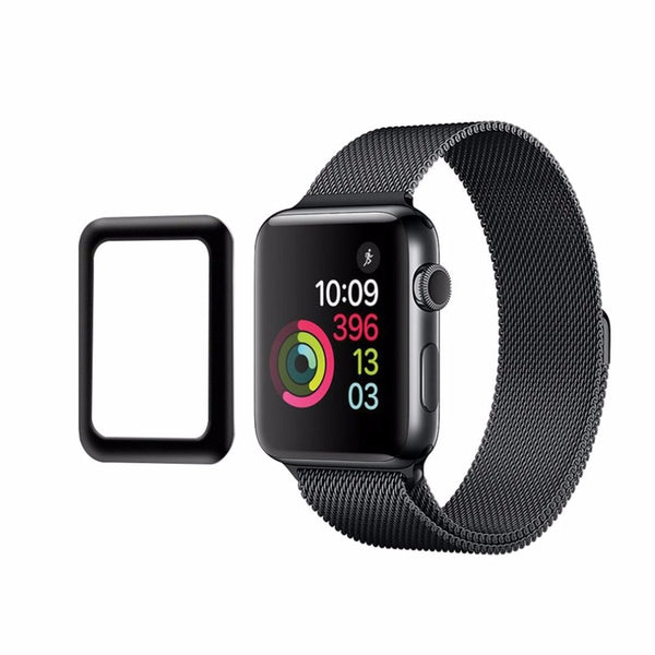 For iWatch Plating Tempered Glass For Apple Watch 38mm 42mm Series 3 Full Cover 3D Curved Black Edge Screen Protector Film - firstcellphoneadvantage.com