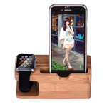 Bamboo Wood Charging Station Charger Dock Stand Holder For Apple Watch Phone Phone For iWatch For iPhone - firstcellphoneadvantage.com
