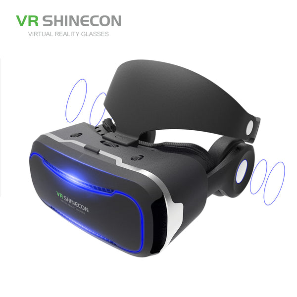 VR SHINECON VR Glasses With Headphones 3D Virtual Reality Glasses Headset Pro Cardboard Helmet BOX For 4.7-6 inch Smart Phone - firstcellphoneadvantage.com