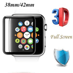 For iWatch Tempered Glass For Apple Watch 38mm 42mm Series 1/2/3 3D Full Cover Curved Black Edge Screen Protector Film Guard - firstcellphoneadvantage.com