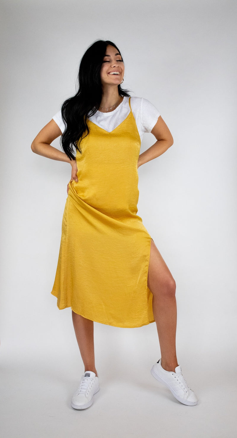 MUSTARD SATIN MIDI SLIP DRESS WITH ADJUSTABLE STRAPS - cedes WOMEN'S ONLINE FASHION AND ACCESSORIES