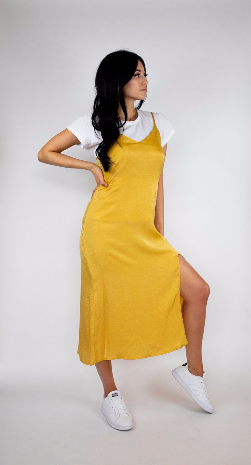 3c693c18ddb1 MUSTARD SATIN MIDI SLIP DRESS WITH ADJUSTABLE STRAPS - cedes WOMEN'S ONLINE  FASHION AND ACCESSORIES