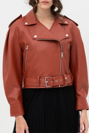 FAUX LEATHER MOTO JACKET (RUST)