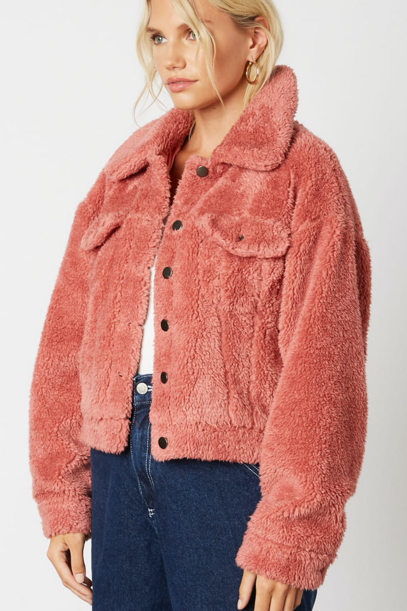 PINK TRUCKER TEDDY COAT