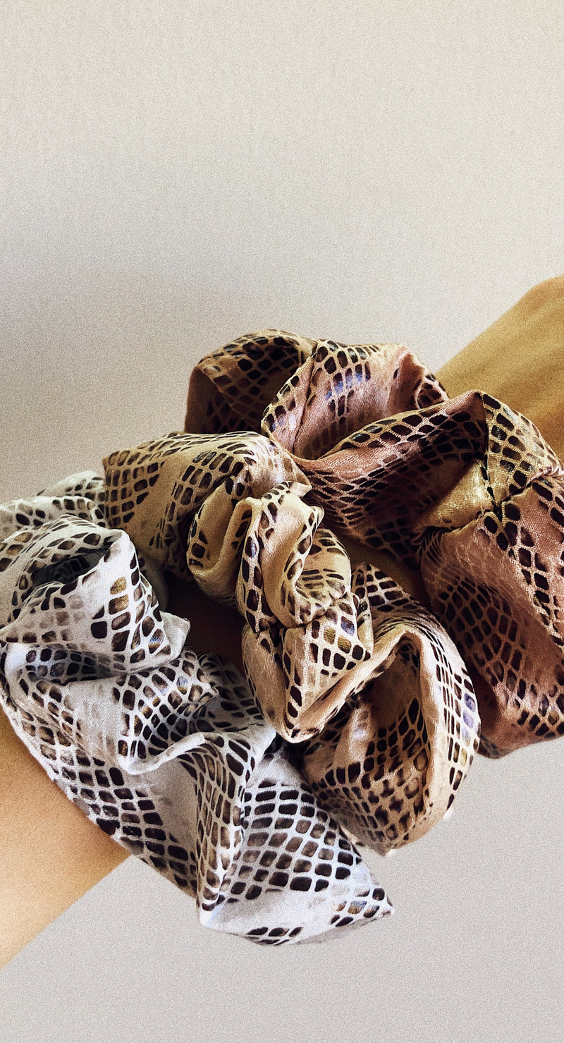 SNAKESKIN SCRUNCHIES SET (3)