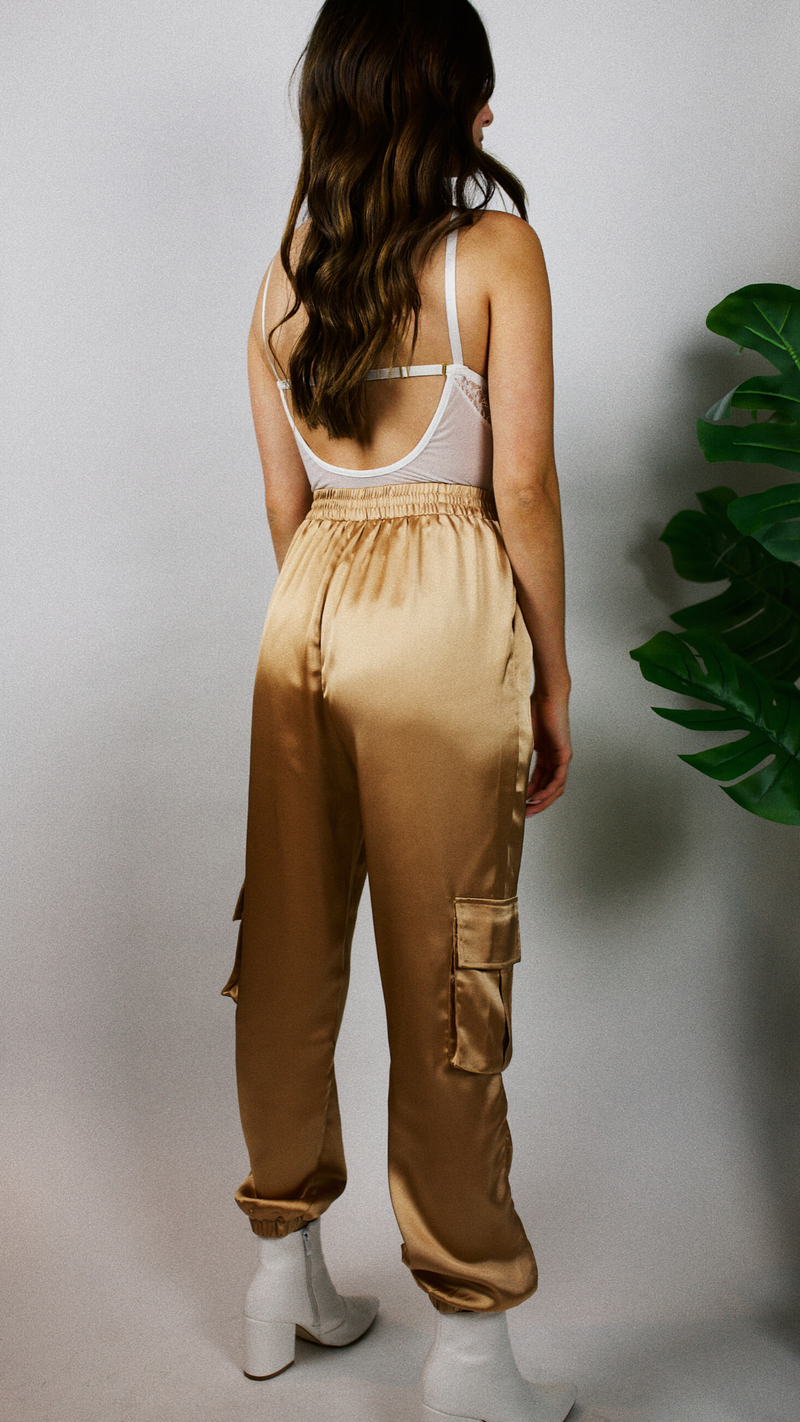 DRIPPING IN GOLD SATIN CARGO JOGGERS