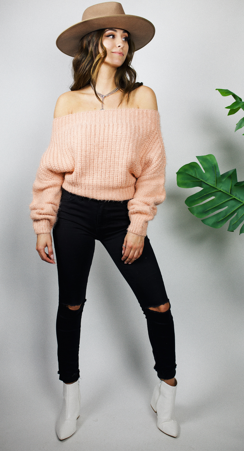 GIVING YOU THE COLD SHOULDER SWEATER