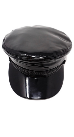 PATENT LEATHER FIDDLER HAT