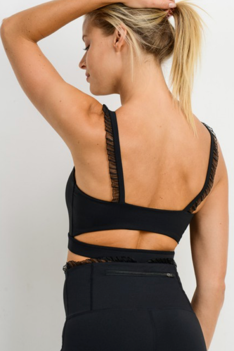 BLACK RUFFLE SPORTS BRA