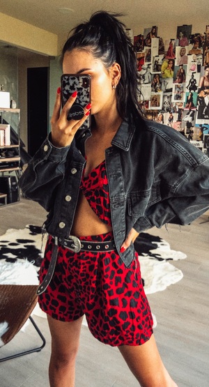 RED LEOPARD ROMPER