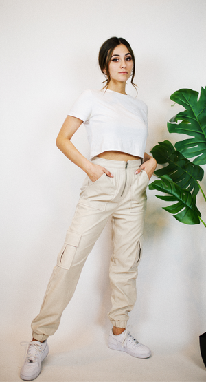 COOL GIRL FAUX LEATHER CARGO JOGGERS