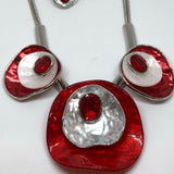 Red and white Necklace Set with Silver
