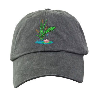 Jumping Frog Hat - Embroidered. Embroidered Frog Hat. Cool Mesh Lining & Adjustable Leather Strap. 33 Colors Avail. HER-LP101 - Whynotstopnshop.com