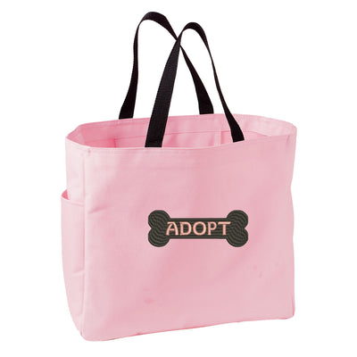 Adopt Dog Bone Tote Bag. Embroidered Adopt Dog Bone Tote. Cute Dog Pet Tote Bag. Dog Rescue Handbag. SM-B0750 - Whynotstopnshop.com