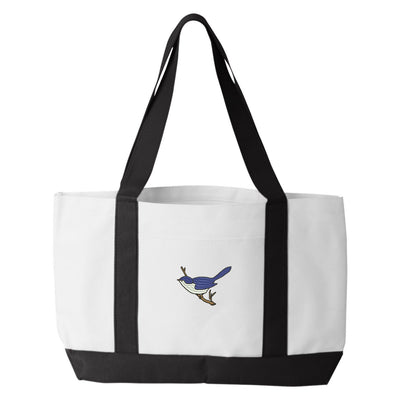 Blue Bird Tote Bag. Embroidered Blue Bird Tote. Blue Bird Tote Bag. Animal Lover Tote. Blue Bird Tote Bag. Bird Bag.  7002 - Whynotstopnshop.com