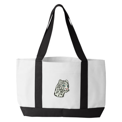 Leopard Tote Bag. Embroidered Leopard Tote. White Leopard Tote Bag. Big Cat Tote Bag. Gift for Cat Lover.  7002 - Whynotstopnshop.com