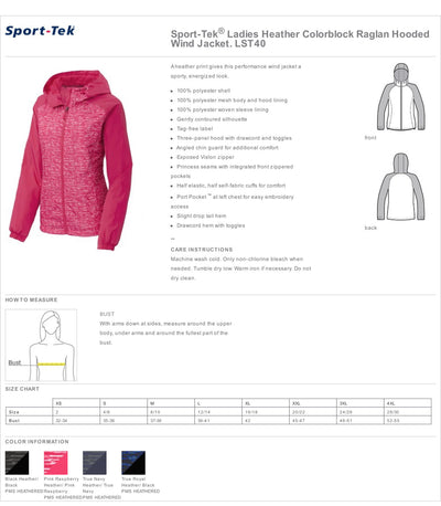 Dental Assistant Hooded Wind Jacket.  Dental Hygienist Wind Jacket.  RDA Jacket.  Ladies Heather Colorblock Raglan Hooded Wind Jacket. LST40 - Whynotstopnshop.com