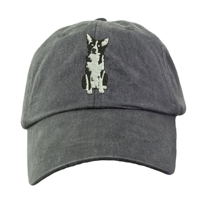 Border Collie Hat - Embroidered. Border Collie Gift. Cool Mesh Lining & Adjustable Leather Strap. 15 Colors Avail. HER-LP101 - Whynotstopnshop.com