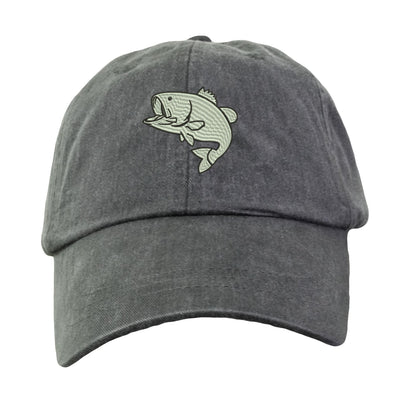 Bass Fishing Hat - Embroidered. Embroidered Bass Fishing Hat. Cool Mesh Lining & Adjustable Leather Strap. 33 Colors Avail. HER-LP101 - Whynotstopnshop.com