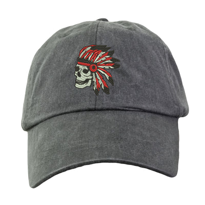Indian Skull Hat - Embroidered. Native American Baseball Hat. Cool Mesh Lining & Adjustable Leather Strap. 33 Colors Avail. HER-LP101 - Whynotstopnshop.com