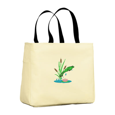 Jumping Frog Tote Bag. Embroidered Frog Tote. Cute Frog Tote Bag. Frog Lover. Gift For Frog Lover. SM-B0750 - Whynotstopnshop.com