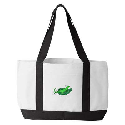 Lizard Tote Bag. Embroidered Green Lizard Tote. Lizard Tote Bag. Green Lizard Tote Bag. Green Lizard On Leaf.  7002 - Whynotstopnshop.com