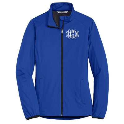 Monogram Ladies Active Soft Shell Jacket. Personalized Full Zip Jacket. Monogrammed Coat. L717 - Whynotstopnshop.com