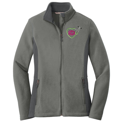 Heart Stethoscope Monogram Ladies Colorblock Fleece Jacket. Monogrammed Fleece Full Zip Up Jacket. Midweight Fleece Jacket. L216 - Whynotstopnshop.com