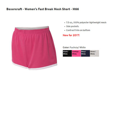 Monogram RN Heart Stethoscope Womens Shorts. Boxercraft - Women's Fast Break Mesh Short -SS: M66 - Whynotstopnshop.com
