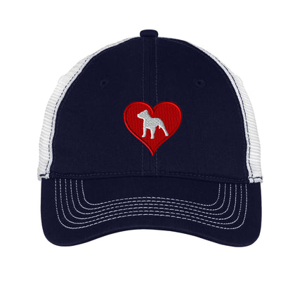 Love Heart Pitbull  Embroidered Mesh Back Hat.  Mesh Back  Embroidered Hat .  Embroidered Baseball Hat  Trucker Hat. DT607 - Whynotstopnshop.com