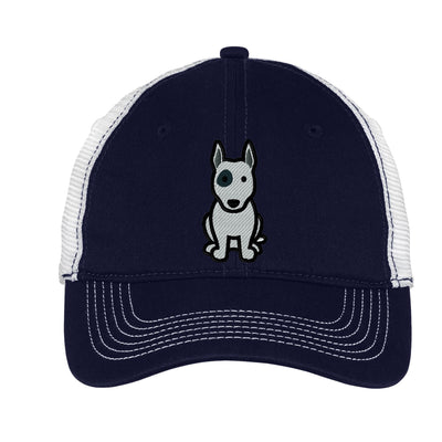 Cartoon Bull Terrier  Mesh Back Hat.  Embroidered Bull Terrier Hat  Embroidered Baseball Hat  Embroidered Trucker Hat. Trucker Hat. DT607 - Whynotstopnshop.com