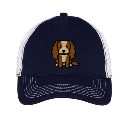 Cartoon King Charles Spaniel  Mesh Back Hat.  King Charles Embroidered Hat  Embroidered Baseball Hat  Dog Trucker Hat. Trucker Hat. DT607 - Whynotstopnshop.com