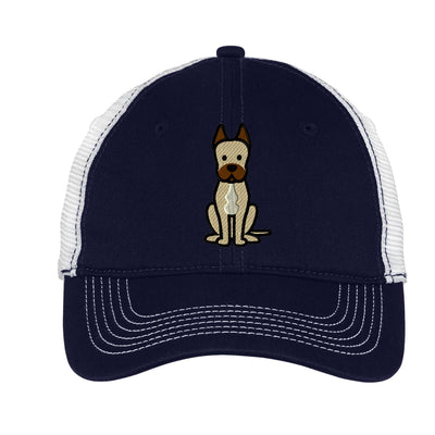 Cartoon Great Dane  Mesh Back Hat.  Great Dane Embroidered Hat  Embroidered Great Dane Baseball Hat  Dog Trucker Hat. Trucker Hat. DT607 - Whynotstopnshop.com