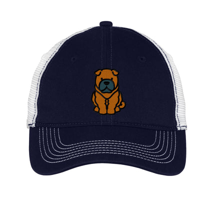 Cartoon Shar Pei  Mesh Back Hat.  Embroidered Shar Pei Hat  Embroidered Baseball Hat  Embroidered Shar Pei Trucker Hat. Trucker Hat. DT607 - Whynotstopnshop.com