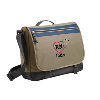 Monogram RN Heart Stethoscope Port Authority® Nailhead Messenger. BG301. - Whynotstopnshop.com