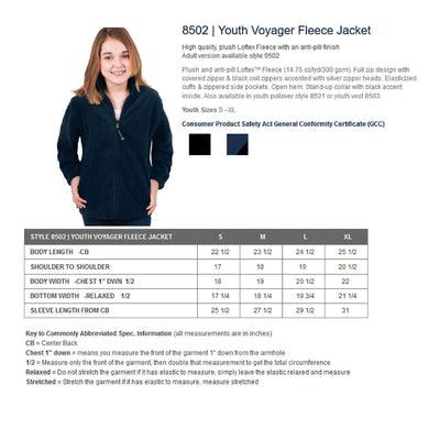 Basketball Youth Jacket.   Youth Voyager Fleece Jacket CR  8502 - Whynotstopnshop.com