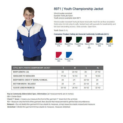 Basketball Embroidered Youth Jacket  8971 | Youth Championship Jacket. CR Youth Jacket. - Whynotstopnshop.com