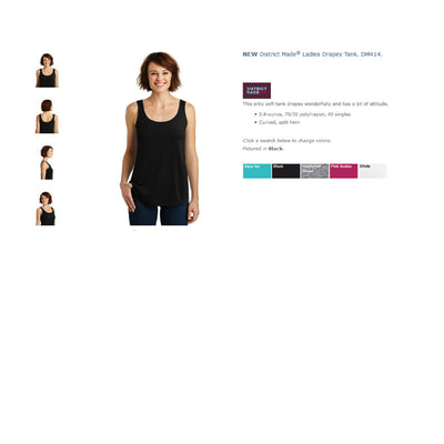 Monogram Paw Stethoscope Womens Tank.NEW District Made® Ladies Drapey Tank.SM: DM414. - Whynotstopnshop.com