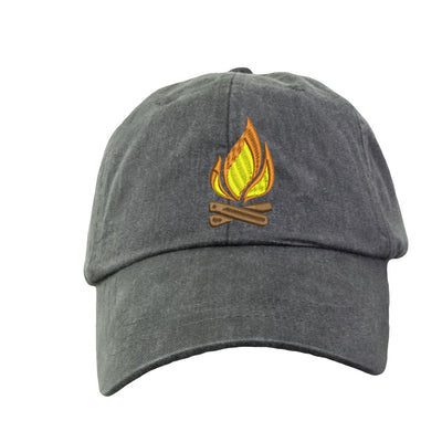 Campfire  - Embroidered Cap Baseball Hat. Adjustable Leather Strap. 15 Colors Avail. HER-LP101 - Whynotstopnshop.com