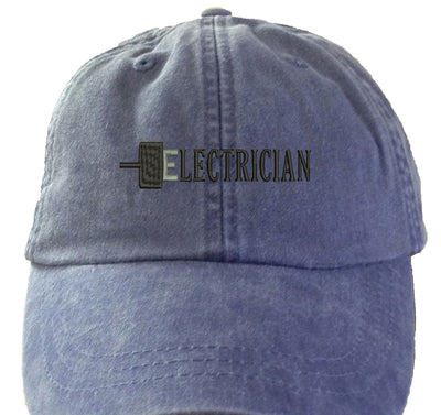 Electrician  - Embroidered Cap Baseball Hat. Adjustable Leather Strap. 15 Colors Avail. HER-LP101 - Whynotstopnshop.com