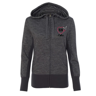 Monogram RN Heart  Stethoscope Womens Jacket. Independent Trading Co Women's Baja Stripe French Terry Hooded Full-Zip Sweatshirt - PRM655BZ. - Whynotstopnshop.com