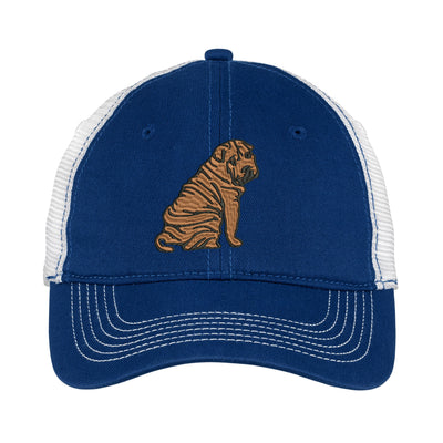 Chinese Shar Pei  Embroidered Mesh Back Hat. - Mesh Back. Embroidered Baseball Hat - Mesh Back.  Embroidered Trucker Hat. Trucker Hat. DT607 - Whynotstopnshop.com