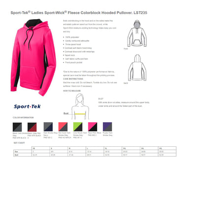 Monogram Heart Stethoscope Womens Sport-Tek Ladies Sport-Wick Fleece Colorblock Hooded Pullover. SM-LST235. - Whynotstopnshop.com