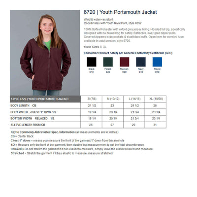 Basketball Embroidered monogram  8720 | Youth Portsmouth Jacket CR 8720 - Whynotstopnshop.com