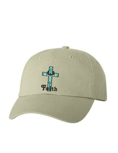 Faith Cross  Embroidered Hat Unisex.  Embroidered Hat. Baseball Cap. Adjustable With Tri-Glide Buckle. 36 Colors. VC300A - Whynotstopnshop.com