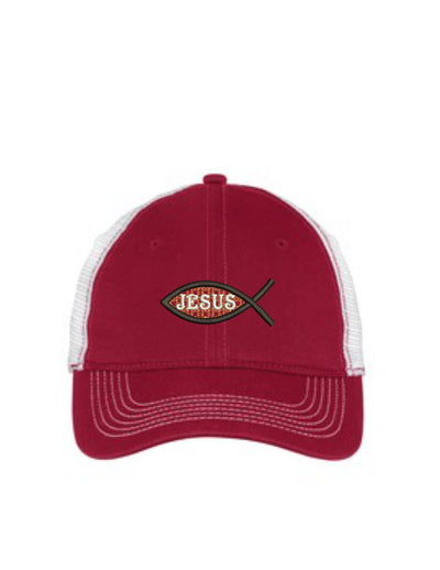 Jesus Fish Embroidered Mesh Back Hat. - Baseball Mesh Back. Trucker Hat. Trucker Hat. DT607 - Whynotstopnshop.com