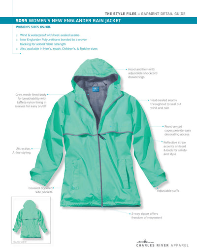 Chiropractor Embroidered Womens Rain Jacket. New Englander Rain Jacket.  Charles River Rain Jacket.  Rain Coat CR-5099 - Whynotstopnshop.com